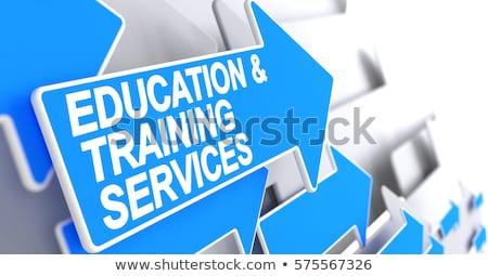 business education   label on blue pointer 3d stock photo © tashatuvango