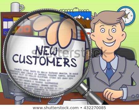 Stock fotó: új · vásárlók · nagyító · firka · szöveg · papír