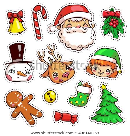 パッチ バッジ 異なる 陽気な クリスマス モノクロ ストックフォト © frescomovie