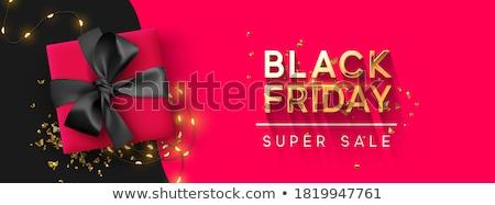 black · friday · poszter · szórólap · sablon · piros · hosszú - stock fotó © articular