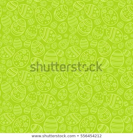 Foto stock: Verde · ovo · de · páscoa · padrão · isolado · branco · grama