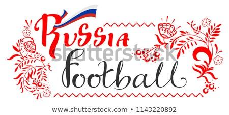 Rusia fútbol texto tarjeta de felicitación floral Foto stock © orensila