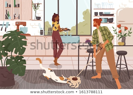 Dirty kitchen scene with housekeeper Stock photo © bluering