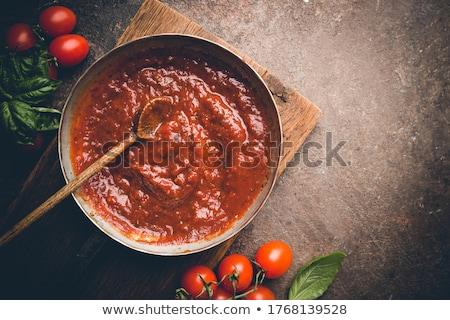 házi · készítésű · paradicsomszósz · friss · paradicsomok · bazsalikom · étel - stock fotó © melnyk
