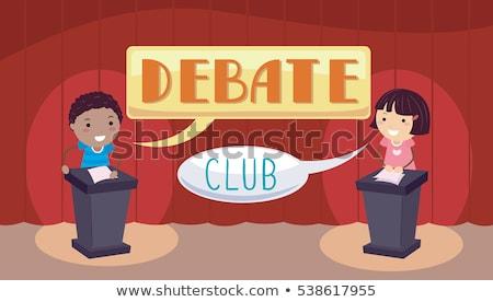 Debate Club Stickman Kids Stock photo © lenm