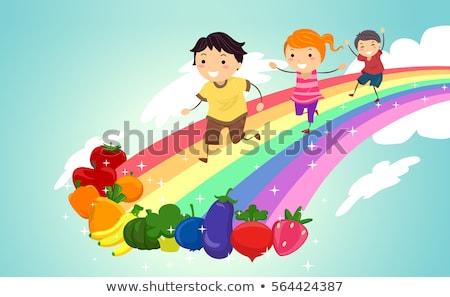 Fruits Veggies Stickman Kids Rainbow Fun Stock photo © lenm