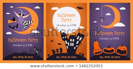 Halloween Funny Background with Witches and Moon. Stock photo © WaD