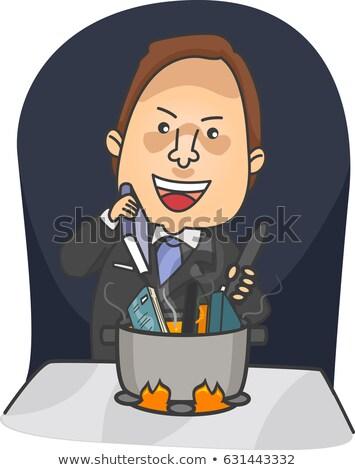 Man zakenman kok boek illustratie boeken Stockfoto © lenm