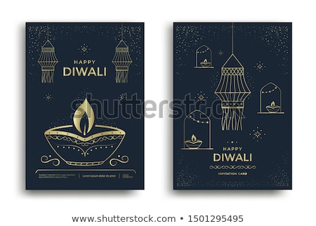 happy diwali festival greeting template with hanging diya Stock photo © SArts