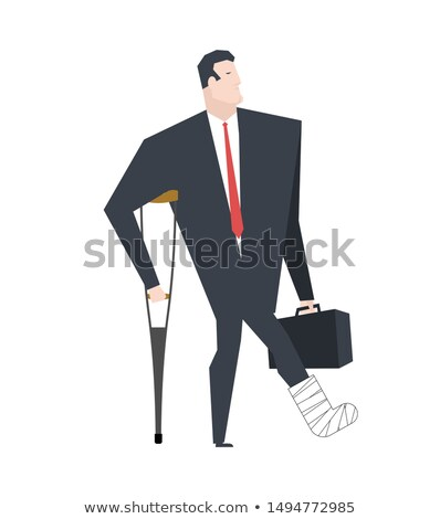 Businessman with crutch in plaster leg. Boss is broken leg. Offi Stock photo © MaryValery