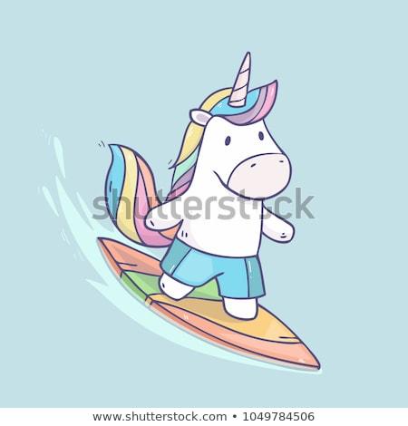 Stock photo: Cartoon Smiling Surfer Girl