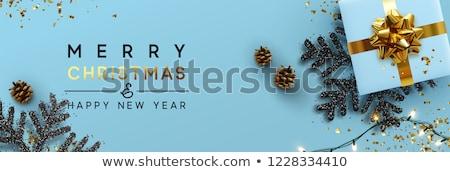 Heiter Weihnachten blau glitter Geschenk Grußkarte Stock foto © cienpies