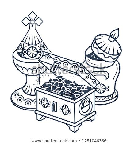 икона · традиционный · черно · белые · праздновать · золото · силуэта - Сток-фото © olena