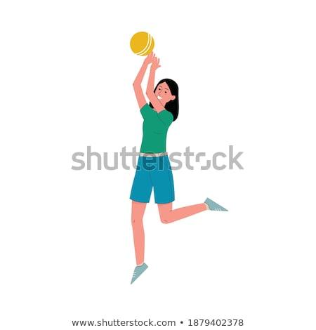 漫画 笑みを浮かべて ビーチ バレーボール プレーヤー 少女 ストックフォト © cthoman