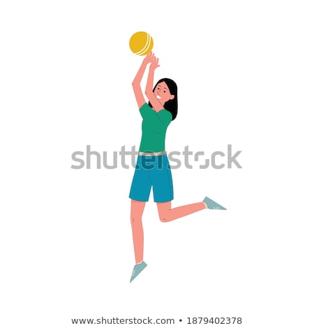 desenho · animado · sorridente · praia · voleibol · jogador · menina - foto stock © cthoman