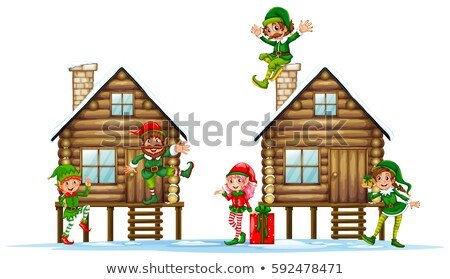 Many elves on the wooden cabins Stock photo © colematt