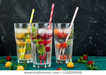 detox infused flavored water with three color raspberry stock photo © illia