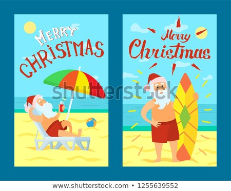 Merry Christmas Santa Claus Lying Sunbed Surfboard Stock photo © robuart