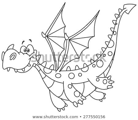 дракон · изображение · улыбка · искусства · пламени · улыбаясь - Сток-фото © colematt