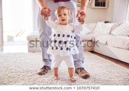 Permanent père aider maison famille Photo stock © dolgachov