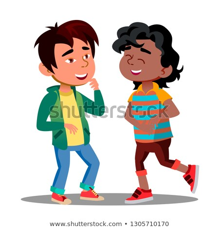 Asian And African Boys Holding Belly Laughing Funny Together Vector. Isolated Illustration Stock photo © pikepicture