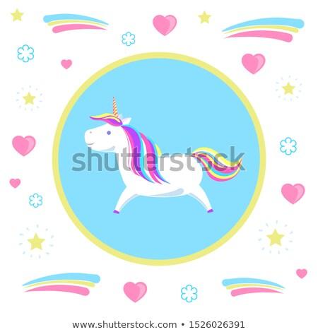Stock fotó: Childish Girl Unicorn From Legend Mysterious Horse