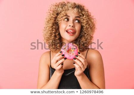 bir · pembe · tatlı · tatlı · çörek · beyaz · boyalı - stok fotoğraf © deandrobot