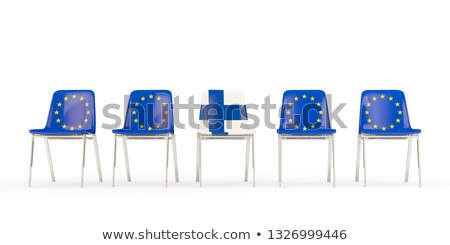 Row of chairs with flag of EU and finland Stock photo © MikhailMishchenko