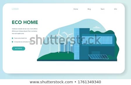vertical green city concept landing page stock photo © rastudio