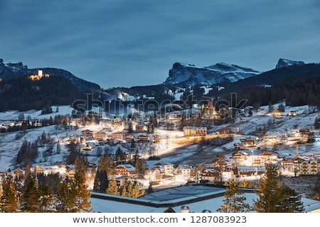 város · hegyek · erdő · tájkép · zöld · kék - stock fotó © frimufilms
