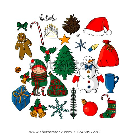 happy christmas holly berries with leaves cartoon characters stock photo © hittoon