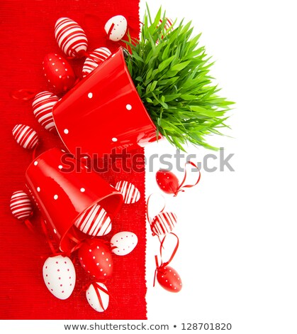 composition of white traditional dotted easter eggs in white ceramic plate stock photo © dash