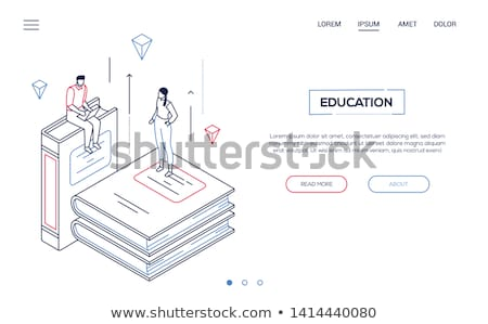 online library   isometric line design style web banner stock photo © decorwithme