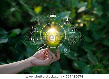 Groene energie man permanente milieuvriendelijk moderne Stockfoto © jossdiim