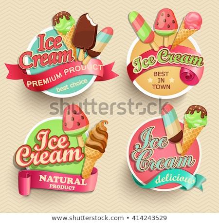 Photo stock: Couleur · vintage · icecream · emblème · crème · glacée · étiquettes
