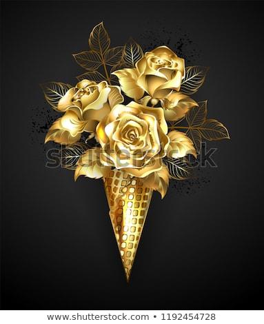 Rosas rosa ouro waffle chifre preto Foto stock © blackmoon979