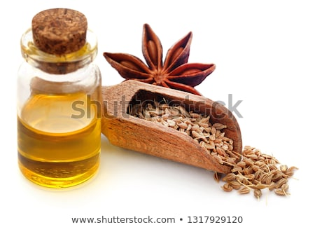 Anise seeds in wooden scoop and Star anise Stock photo © bdspn