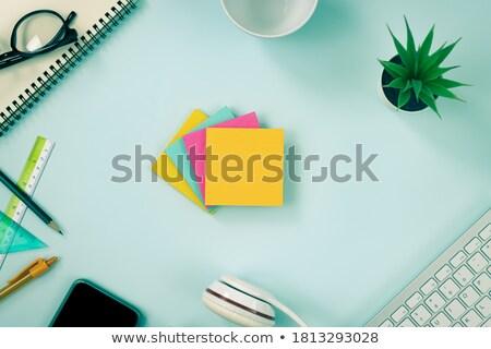 kék · kávéscsésze · irodaszerek · izolált · fehér · üzlet - stock fotó © karandaev