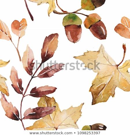 Minta vízfesték tölgy levelek végtelen minta zöld Stock fotó © Artspace
