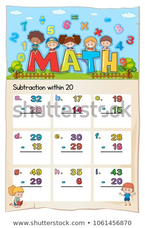 Math worksheet template for subtraction within twenty Stock photo © colematt