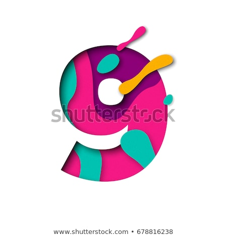 Colorful paper cut out font Number 9 NINE 3D Stock photo © djmilic