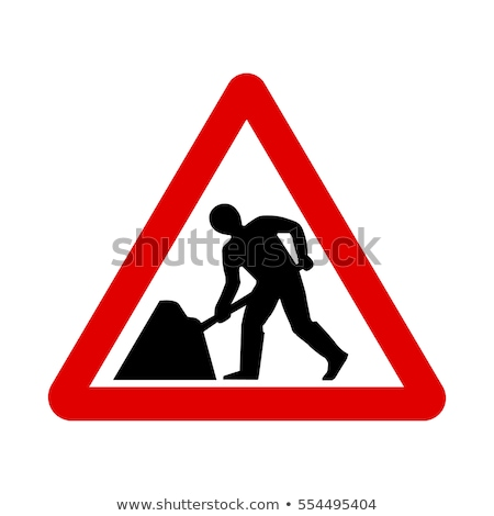 Figyelmeztető jel építkezés fehér eps 10 vektor Stock fotó © limbi007