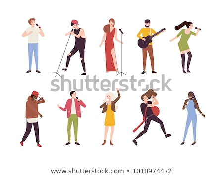 Woman Singing in Microphone Isolated Character Stock photo © robuart