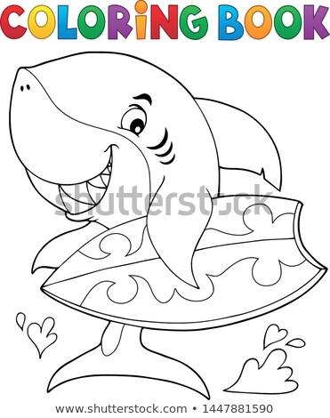 Foto stock: Libro · para · colorear · surfista · tiburón · agua · libro · deporte