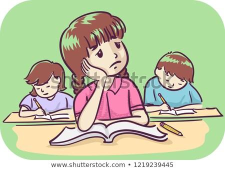 Gyerek lány unatkozik illusztráció osztály nyitott könyv Stock fotó © lenm