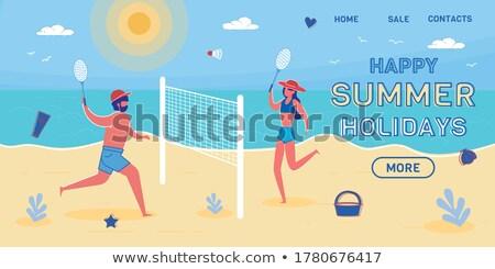 Beach Badminton Summer Sport Game, Man and Woman Stock photo © robuart