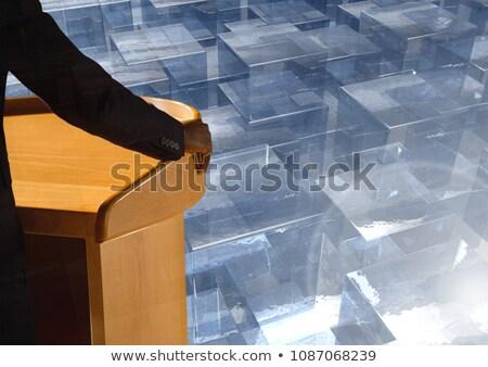Empresario podio conferencia vidrio cubos Foto stock © wavebreak_media