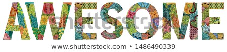 Word AWESOME. Vector zentangle object for decoration Stock photo © Natalia_1947