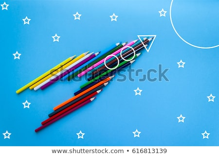 Back to school poster with doodles rocket and space background. Vector illustration for banners invi Stock photo © ikopylov