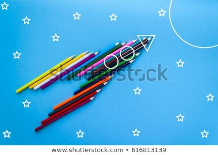 Okula geri poster karalamalar roket uzay afişler Stok fotoğraf © ikopylov